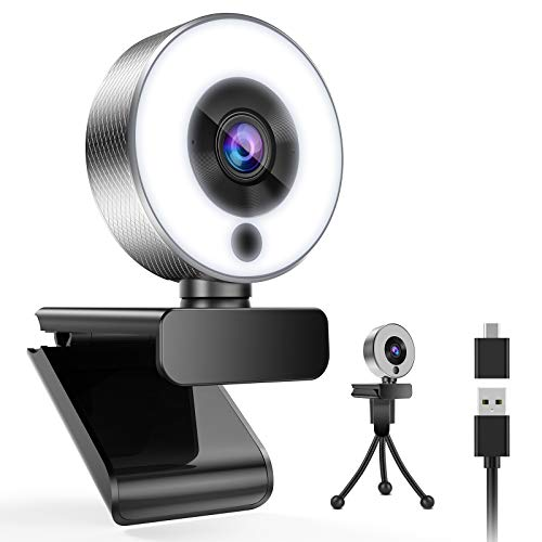 Belnk A9S Webcam with Ring Light, FHD 1080P Webcam with Microphone and Streaming Webcam, Plug and Play Web Camera, Adjustable Brightness, USB Webcam for PC Laptop Mac, Zoom (Webcam+TypeC Adapter)