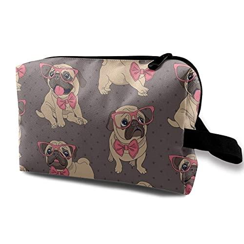 Neceser neceser cosmético maquillaje organizador de viaje para hombres y mujeres, lindo perro carajo con corbata rosa y gafas