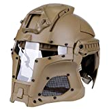 GzxLaY Casco táctico Knight, Casco Militar de riel Lateral balístico, Máscara Facial Airsoft Paintball con Gafas, Casco de máscara Facial Airsoft Paintball de Combate,D