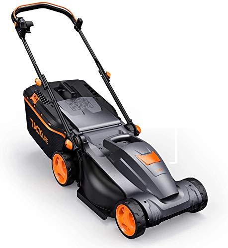 TACKLIFE - Cortacésped eléctrico, 1600 W, ancho de corte 37 cm, 6 alturas de corte variables de 25 a 75 mm, manillar ajustable y plegable, bajo ruido, ligero, bandeja de recogida 38 L, KALM16A