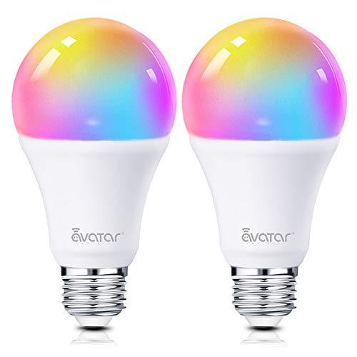 Smart LED Lampen, Alexa Wlan Glühbirne E27 8W Warmes Licht Dimmbar Licht 16 Millionen Farben Kein Hub Erforderlich Kompatibel mit Google Home by Avatar Controls(2 Pack)