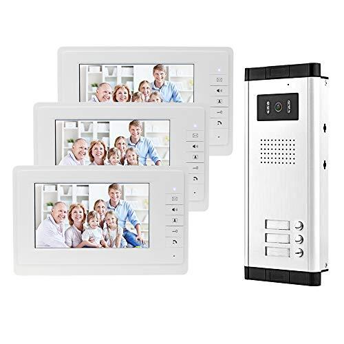 uoweky 7 Zoll Video-Türsprechanlage, Farbe kabelgebunden, Infrarot-Türsystem, Nachtsichtkamera + Innenmonitor für 2/3 Wohnungen (3 Monitore)
