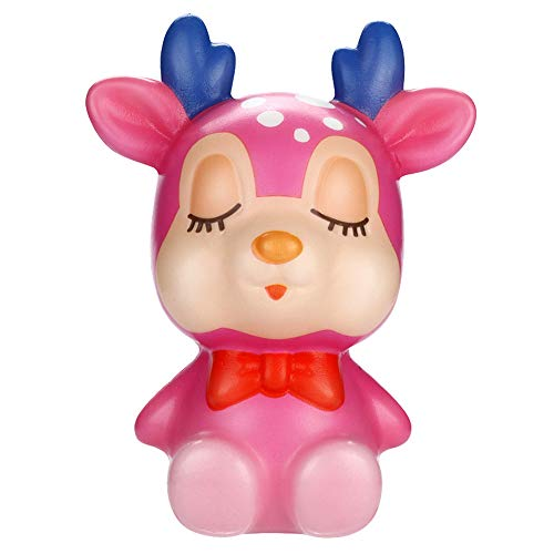 DIGOOD Squishies Kawaii Deer Slow Rising Cream Scented Stress Relief Decor Toys Gift (Pink)