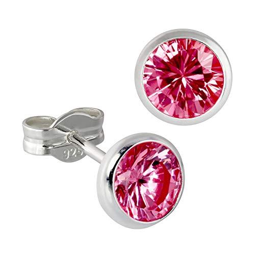 SilberDream Ohrstecker Damen 925 Silber rubinrot Zirkonia Ohrringe 6mm D3SDO5536P Silber, Zirkonia Ohrschmuck für die Frau