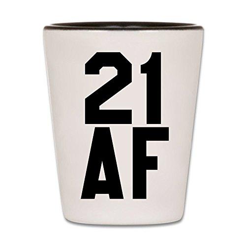 21st Birthday Shot Glass - 21 AF Shotglass - Ceramic Novelty College Gag Gift For Women and Men Turning Twenty One - Best Happy Birthday Party Gift For Guys & Girls Born In 1999-1.5 oz (1)