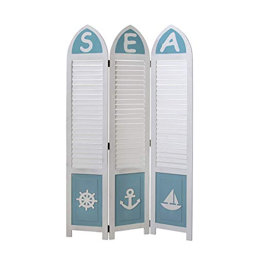 Homestyle4u 1823, Paravent Raumteiler 3 teilig, Kiefer Holz, Maritim Weiß Blau