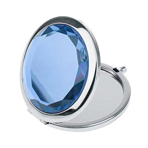 Miroir de Poche Pliable Cosmétique Rond Loupe Maquillage Voyage - Bleu Royal