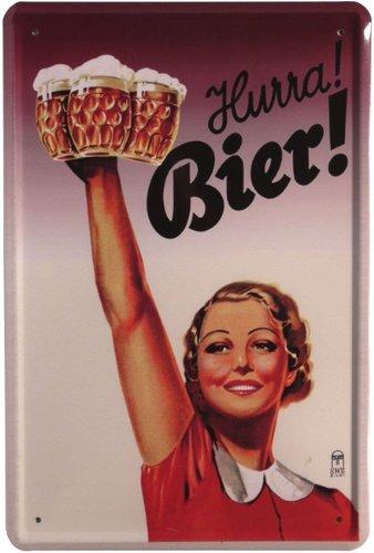 Metalen bord Hurra Bier! 20 x 30 cm reclame retro plaat 331