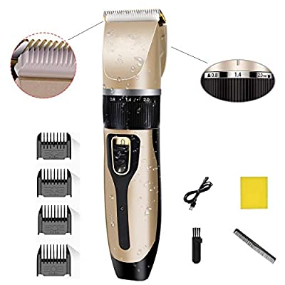 Hair Clippers for Men Professional Hair Cutting Kit Electric Rechargeable Beard Trimmer Cordless Low Noise Beard Shaver for Pet Dogs Baby Kids Adult Daily Travel Use with Guide Combs Brush USB Cord by Phixton