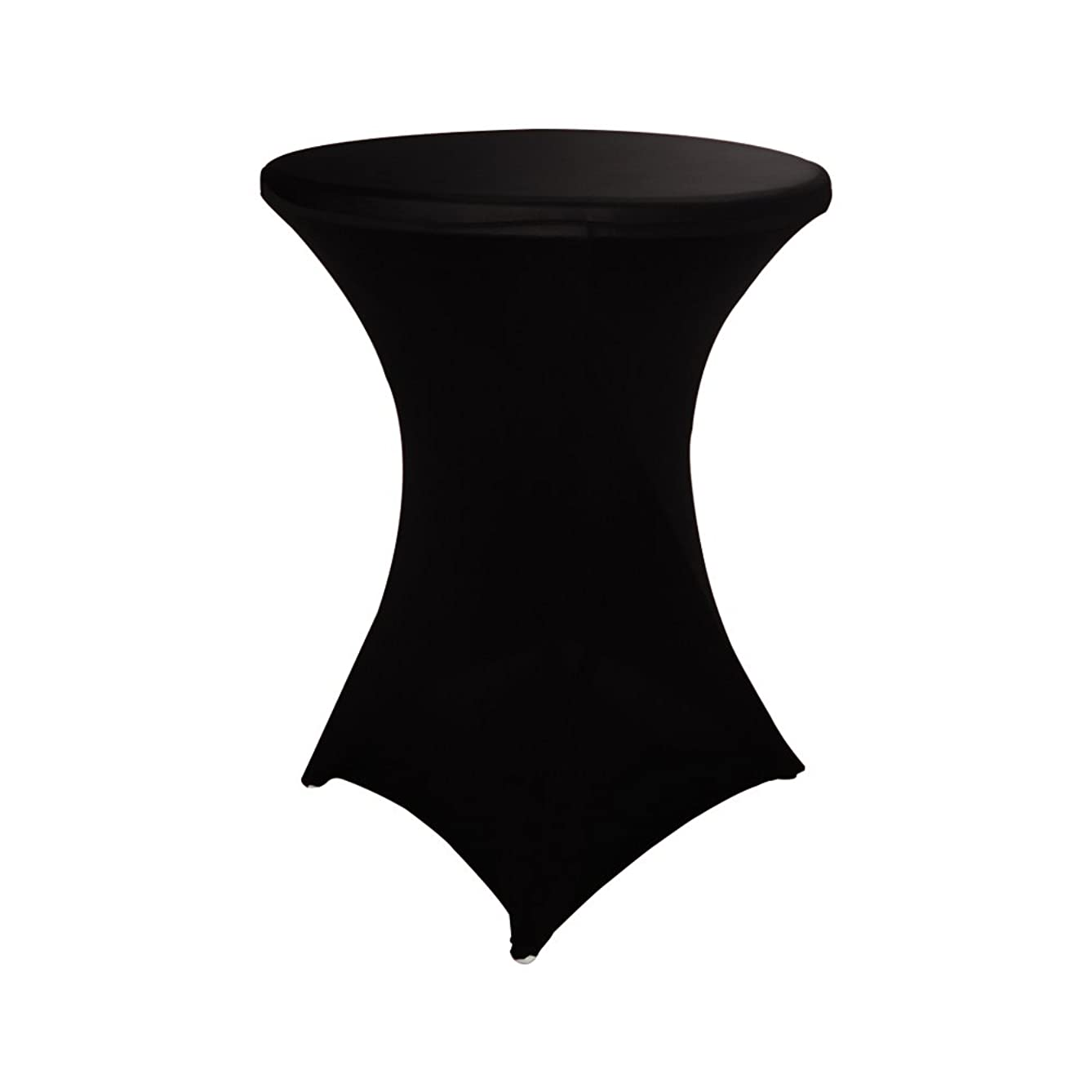 Haorui 30 inch Highboy Cocktail Round Fitted Stretch Spandex Table Cover Cloth for Party Wedding Black