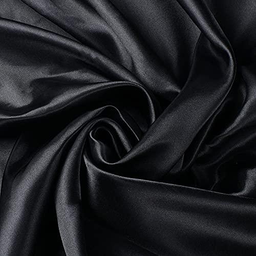 100 * 150 cm Raso Tessuto Satinato al Metro Stoffa Metraggio per Cucito Creativo Abbigliamento Borsa Divano Fai da Te Poliestere (Nero)