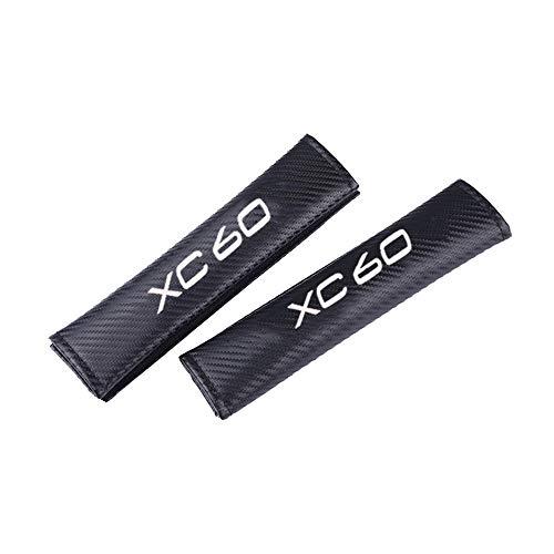 AIPOLE Car Seat Belt Cover Shoulder Pads For Volvo XC60, Carbon Fiber Safety Harness Strap Shoulder Pads, Protection Shoulders Comfort Padding, Guard Safety Clip 2 Pcs