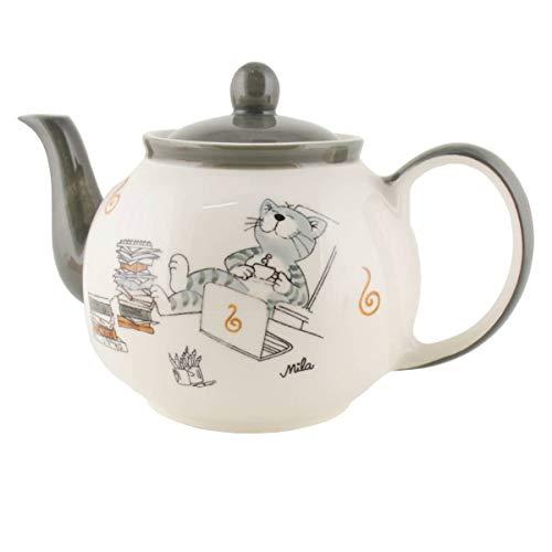Mila Keramik-Teekanne, Oommh Katze Relax - take it Easy Home-Office ca 1,2 Liter | MI-94227 | 4045303942271