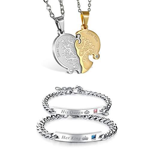JewelryWe 1 Par Collares de Parejas Enamorados Corazón Partido, Colgante de Árbol de la Vida Dorado Plateado Collar Hombre Mujer Acero Inoxidable, Regalo de San Valentín (Collar+Pulsera King Queen 2)