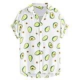 Camisa Hawaiana para Hombre Manga Corta Camisas Casual para Hombre Top Estampado Impresión Aguacate Verano romántico Playa Funny Hawaii Shirt