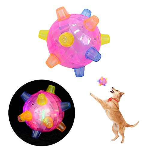 Colmanda Balle Sauteuse à LED, Animaux Chats Balles Sauteuse à LED Boule de Saut Clignotant pour Chiens et Chats Animal Domestique - Rose