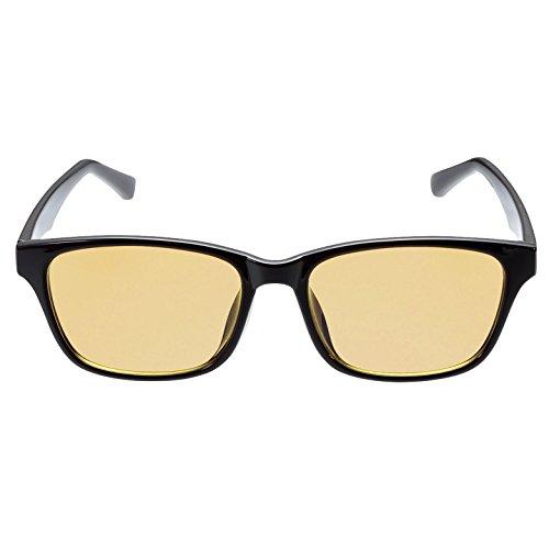 エレコム ブルーライトカットメガネ 日本製 超吸収レンズ ウェリントン 男女兼用 OG-YBLP-W01BK