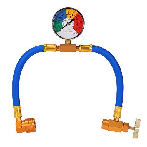 Winbang Adaptador universal de carga de refrigerante de aire acondicionado con manguera de carga R134A para coche con manómetro 1/2 rosca ACME