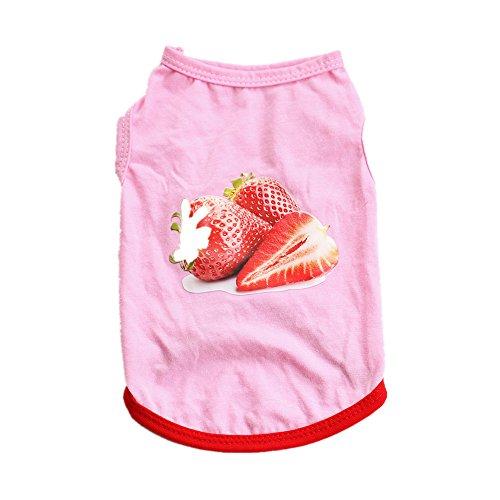 KariNao Sommer Erdbeere Haustier Mantel Hunden Katzen Welpen Kleidung Weste Kostüme Kleider (L, Rosa)