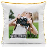 Cuscino Personalizzato con Foto per la Festa del papà - Quadrato 40 x 40 cm - Arancione, A. Stampa Standard