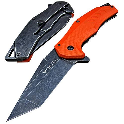 VORTEK Tactical EDC Folding Pocket Knife - Razor Sharp 8Cr13MoV Tanto Blade - Tough G10 Handles - Ball Bearing Pivot System - Everyday Carry Flipper Knives