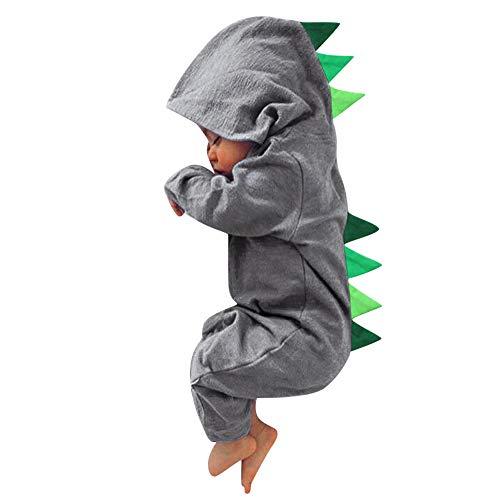 MRULIC Neugeborenes Baby Jumpsuit Outfit Dinosaurier Reißverschluss mit Kapuze Spielanzug Overall Outfit Kleidung Niedlicher Babyschlafsack Onesies Herbst und Wintermodelle(X1-Grau,85-90CM)