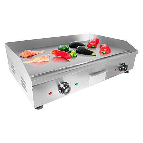 ALDKitchen Flat Top Griddle   Teppanyaki Grill with Double Thermostat   No plug   Manual Control   29.00″ x 18.00″   110V