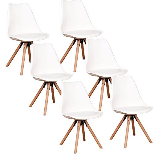 GrandCA HOME Holzgestell Esszimmerstuhl 6er Set, aus Kunstleder Nordisch Design Stuhl, Küchenstuhl, schminktisch-6 (Weiß)