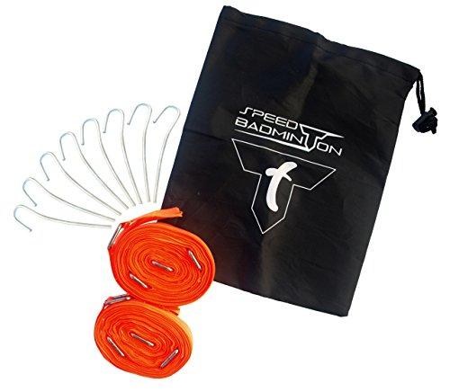 Talbot Torro Speed-Badminton Court Lines, Spielfeldmarkierung 5,5m x 5,5m, verpackt im Blister, Neon-Orange, 490185