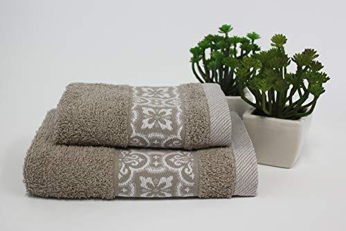 Set 1+1 Asciugamani da bagno Susy con Balza in Jacquard, Viso e Ospite misure: Viso: 50x100 cm. Ospite 38x58 cm. 100% cotone. Spugna di alta qualità proveniente da Portogallo.(Tortora)