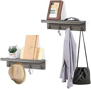 HAITRAL Perchero con estante juego de 2 ganchos de pared con 4 ganchos para entrada dormitorio cocina