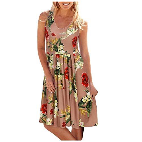 LOPILY Sommerkleid Damen Blumen Kleid High Waist Volant Kleid Vintage Strandkleid Elegante Partykleid Sommer Modisch Kleider Freizeitkleider...