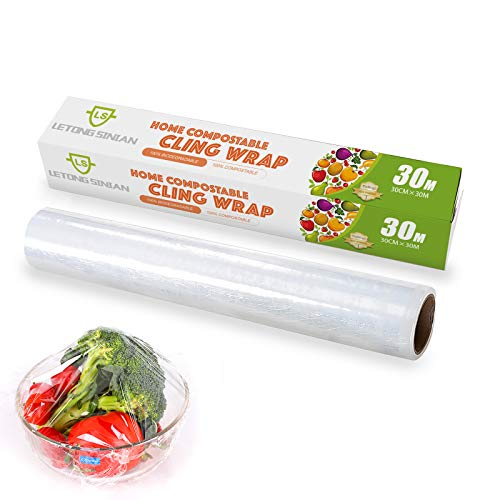 Compostable Cling Wrap with Slide Cutter, Certified Biodegradable Food Wrap, Non-Plastic Wrap for Food, Biodegradable Corn PLA Cling Film, 12 inch x 99 feet