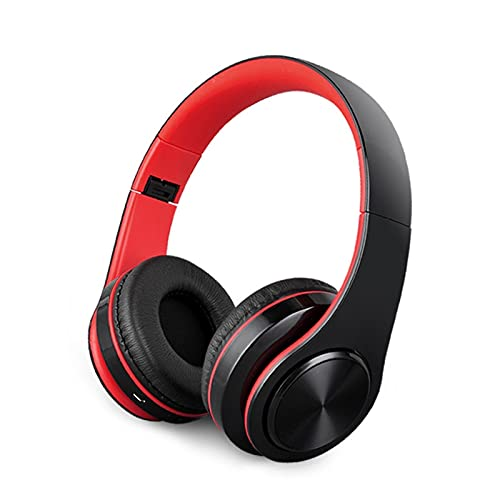 Earphones Bluetooth Headset Headset Wireless Gaming Sport Laufendes Headset für Computer Mobiltelefon Universal Bass Kann anrufen und faltbar Kopfhörer (Color : Red)