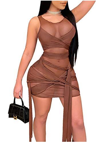 L'VOW Sexy Bodycon for Women Irregular Bandage Sheer Mesh Bodysuit Sleeveless Knot Front Slim Dress(Brown,Large)