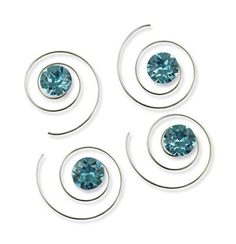 Rivelle Damen Curlies mit Swarovski Elements 8 mm hell blau Haarspiralen Haarschmuck Hochzeit Brautschmuck