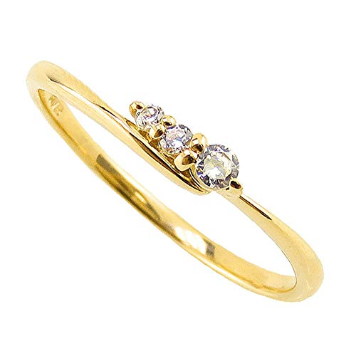 [ジュエリーアイ] ダイヤモンド リング イエローゴールドK18 18金 スリーストーン トリロジー 3石 ピンキーリング 婚約指輪 指輪 8号