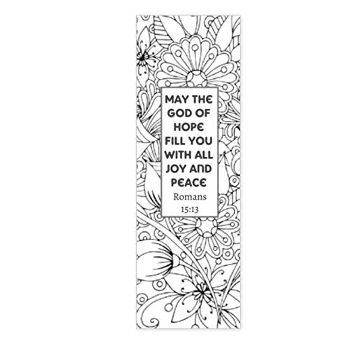 Christian Coloring Bookmarks - Bible Verse Color Your Own Book Marks - Anti Stress - Art Therapy - Adult Coloring - 100 Bulk Pack All The Same Design - Great for Large Groups - Women's Ministry