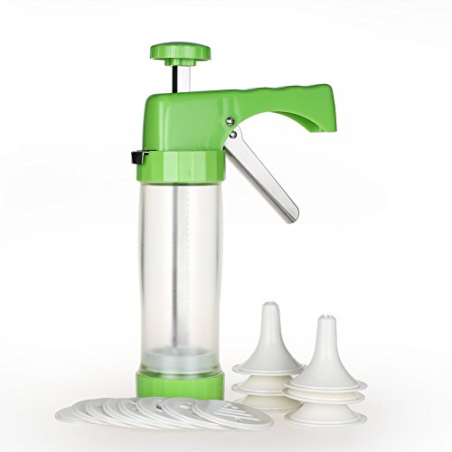Ourokhome Cookie Press Maker Machine - Icing Gun Kit with 16 Discs and 6 Decoration Tips for Home DIY (Green)