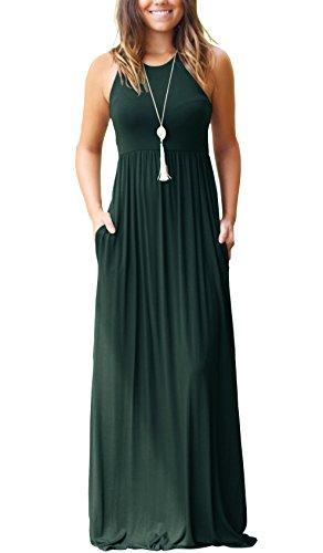 GRECERELLE Women Sleeveless Long Maxi Fall Casual Dresses Dark Green-XL