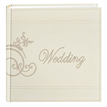 Pioneer Embroidered Scroll and Wedding Sewn Leatherette Cover Photo Album Ivory