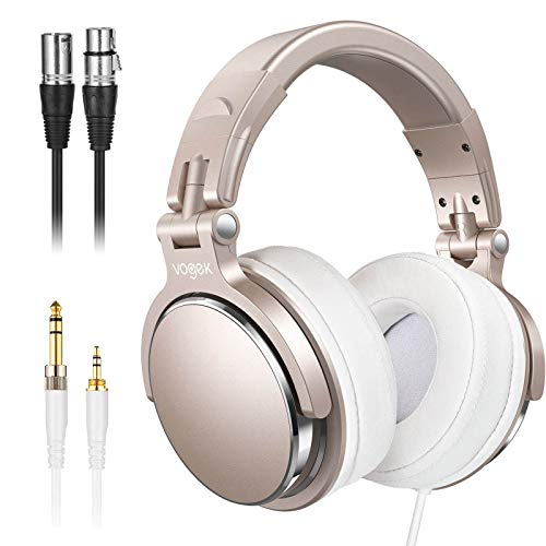 Studio Headphones with 6.6ft XLR Cable, Sopownic Prefessional DJ Headphones Mixing DJ Headset Protein Memory Foam Ear Pads, 50mm Neodymium Drivers Stereo Sound for Electric Drum Piano Guitar AMP