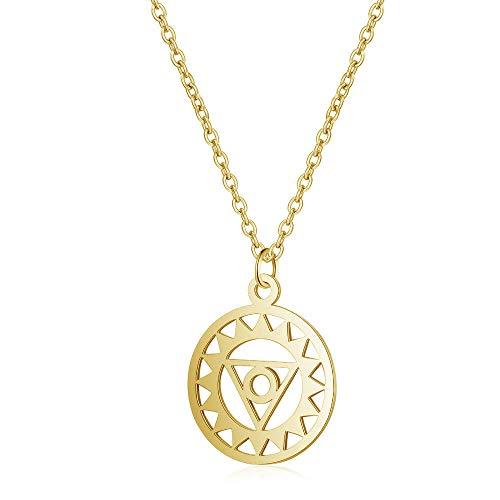 XCEG Halskette Edelstahl Aushöhlen Lümmel Blumen Charm Anhänger Gold Stahlton Langkettige Halskette Weiblich Geschenk-8