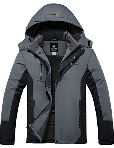 GEMYSE Chaqueta de esquí Impermeable de montaña para Hombre Abrigo de Invierno al Aire Libre de Lana a Prueba de Viento con Capucha (Neutro Gris Negro,XXL)