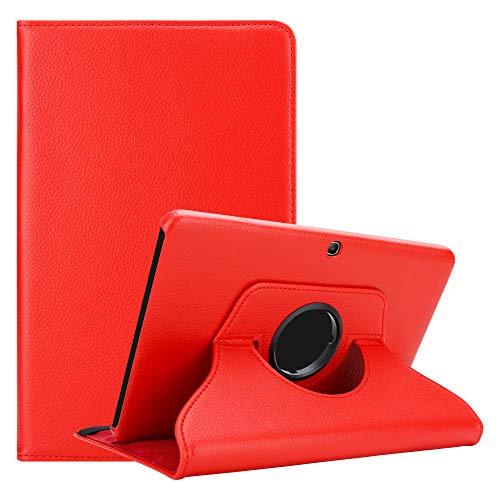 Cadorabo Custodia Tablet per Samsung Galaxy Tab 4 (10.1' Zoll) SM-T530 / T535 in Rosso Papavero – Copertura Protettiva in Stile Libro Senza Auto Wake Up con Funzione Stand e Cerniera Elastico
