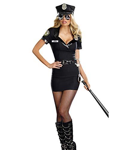 Damen Polizei Polizistin Uniform Kostüm Uniform Sexy 5 PCS mit Gürtel Handschelle Schlagstock und Hut Mütze für Mottoparty Halloween Karneval