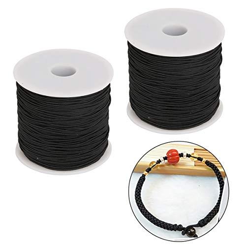 iSuperb 1mm Elastic String Cord Black 2 Rolls Stretch Bead Cord Polyester Yarn Bracelets Thread Beading String for Jewelry Making (Black)