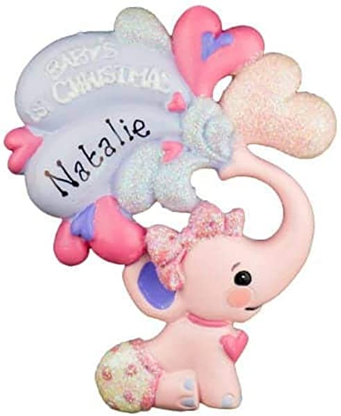 粉色婴儿 S 第1 圣诞大象个性化独特圣诞树装饰品节日派对经典装饰家庭儿童婴儿军事运动或宠物定制装饰品
