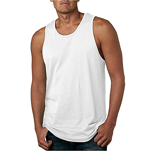 LOPILY Männer Herbst Mode Lässig Ärmelloses Unterhemd Muskel Gym saugfähige Weste Baumwolle Herren Solide Atmungsaktiv Designer Sommer Ärmellos Muskelshirt Weste Tank(Weiß,2XL)