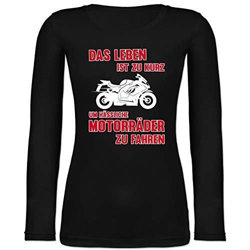 Shirtracer Motorräder - Das Leben ist zu kurz um hässliche Motorräder zu Fahren 3 - M - Schwarz - BCTW071_Damen_Langarm - BCTW071 - Langarmshirt Damen